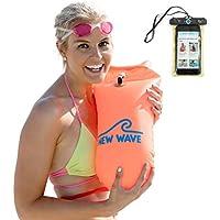 New Wave Schwimmboje für Openwater Schwimmer und Triathleten - Visible Float für Training und Wettkampf (Orange PVC)