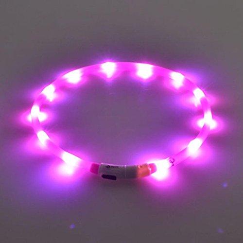 Xshuai 70cm Wetterfeste wiederaufladbare USB Wasserdichte LED Blinkende hohe Sichtbarkeit Lichtband Sicherheit Haustier Hundehalsband (Grün / Blau / Orange / Lila / Rosa / Rot / Weiß / Gelb) (Lila)