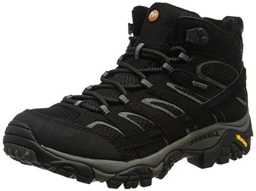 Merrell Herren Trekking- & Wanderstiefel Trekking- & Wanderstiefel Moab 2 Mid GTX, Schwarz (Black), Gr. 44 (UK 9.5) (Wasserdichte Schuhe Herren Merrell)