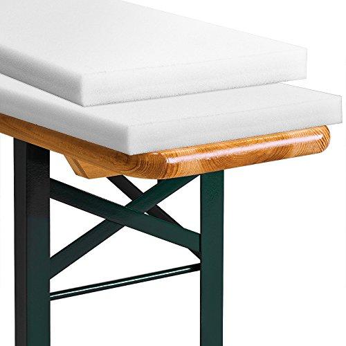 2er Set Bierbankauflage - Sitzpolster für Bierzeltbank 220cm | bei Bedarf kürzbar | bequem & weich...