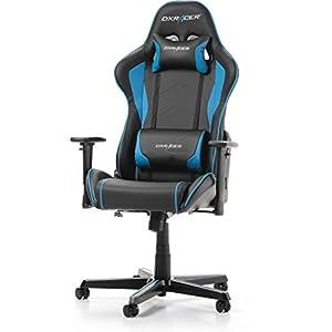 DXRacer (das Original) Formula F08 Gaming Chair für High End PC/PS4/XBOX/Nintendo, ergonomischer Schreibtischstuhl fürs Büro aus Kunstleder, Schwarz-Blau