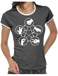 Touchlines Damen - Stein Schere Papier Echse Spock Girlie Ringer T-Shirt