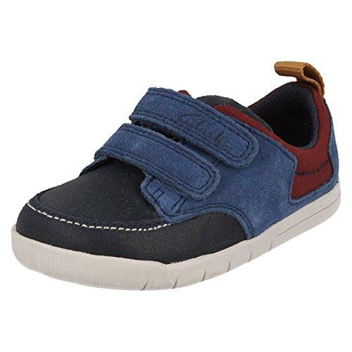 Clarks Fou JAY Fst garçons premières chaussures en Combi marine et cuir Tan Navy Combi