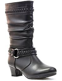 Las niñas de piel sintética Mid Calf-Botas de tacón bajo negro tamaño 11-4