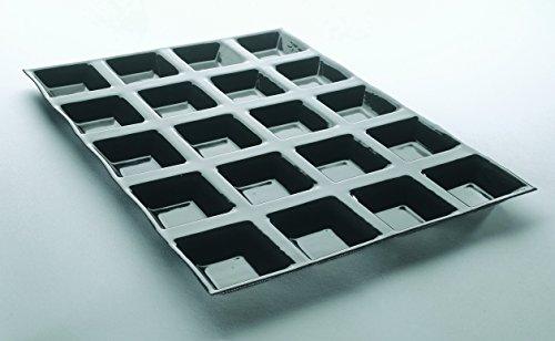 Tartelettes carrées cannelées flexipan professionnelles 400 x 300 mm, à 20 empreintes L 60 x lg 60 x H 15 mm