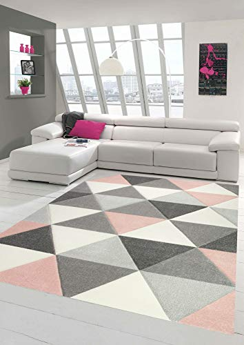 Merinos Teppich modern Designerteppich mit Dreieck Muster in Rosa Grau Creme Größe 80x150 cm