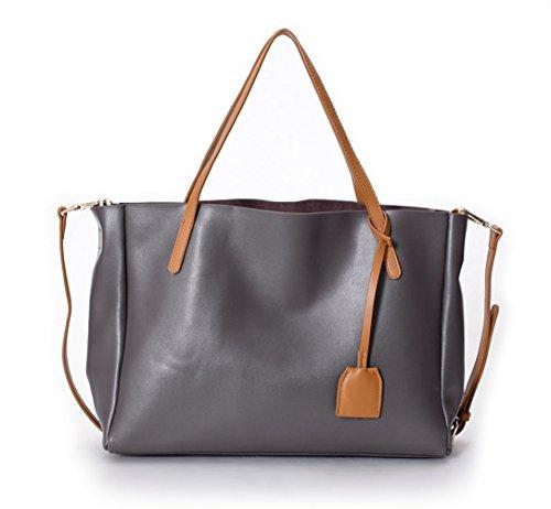 La Poet Damen Echtleder-Tasche 2-in-1-Tasche mit herausnehmbaren Innentasche (Zip-laptop-tasche Top)