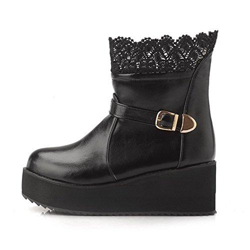 AgooLar Damen Mittler Absatz Rein Rund Zehe Blend-Materialien Ziehen Auf Stiefel Schwarz