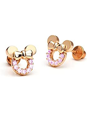 Findout Rose Gold plattiert Sterling Silber kubische Zirkone rosa Kristall hohlen Mickey Mouse Ohrringe. For Frauen...