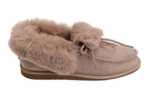 Hommes Femmes Luxe Peau De Mouton Pantoufles Chaussures Chaussons Avec Doublure Chaud Laine