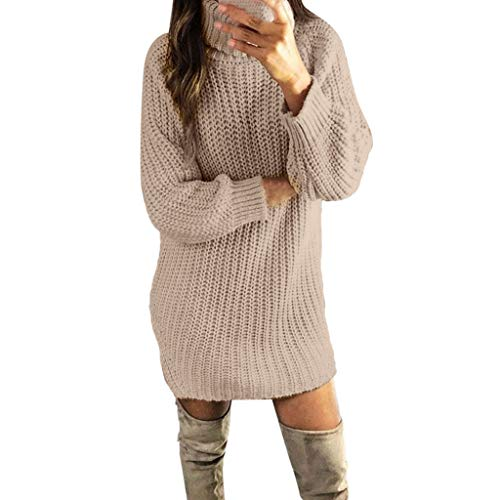 Dasongff Damen Kleider Strickkleid Winter Weihnachtspullover Pullikleid Elegant Partykleid Rollkragen Strickpullover Minikleid Pulloverkleid...