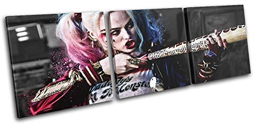 (Bold Bloc Design - Suicide Squad Harley Quinn Movie Greats 120x40cm Treble Leinwand Kunstdruck Box gerahmte Bild Wand hangen - Bereit zum Aufhangen - Canvas Art Print RC-7866(00B)-TR31-LO-B)