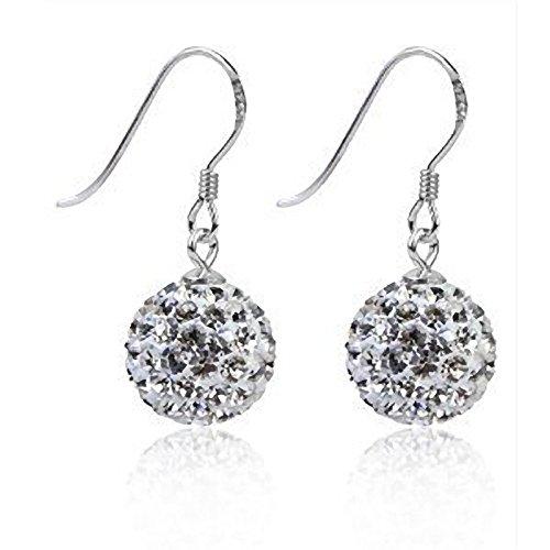 isco Ball Shamballa Style Sterling Silber Baumelnden Drop Haken Ohrringe–Swarovski-Stil Österreichischer Kristall (Silber Disco Kugel Ohrringe)