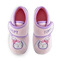 SlumberzzZ Girls Sleepy Bunny Touch-Close Bootie Slippers