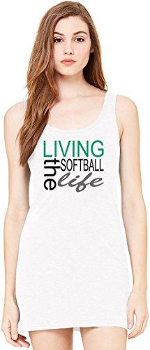 Living The Softball Life Funny Slogan Bella Basic ärmellose Tunika Sleeveless Tunic Tank Dress For Women  100% Premium Cotton 