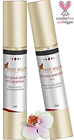 Sweet Willow Time Repair Moisturiser SPF 25 and Serum with Matrixyl synthe`6, Renovage,Vitamin C and Hyaluronic Acid. Stem Cell Active `Botox` Facial Duo