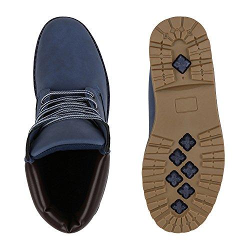 Stiefelparadies Damen Herren Unisex Worker Boots Profilsohle Outdoor Stiefeletten Warm Gefütterte Schuhe Camouflage Denim Übergrößen Flandell Blau Carlet