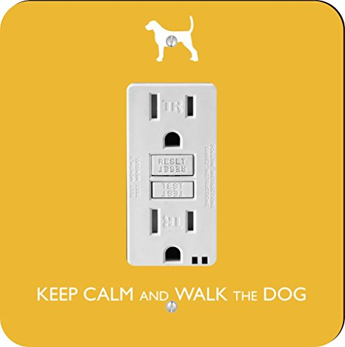 Rikki Knight Keep Calm and Walk The dog-yellow Farbe Single GFI Lampe Switch Plate (Yellow Wall Plate)