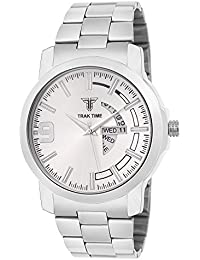 Traktime Day & Date Display Silver Steel Dial Designed And Strap Analog Business Men Silver Day & Date Watch