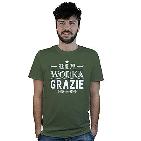 T-Shirt Für me ein Wodka, T-Shirt lustig grün, Cocktail, Alkohol, Chupito - militär-grün, Large (Grün Wodka)