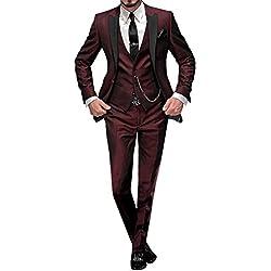 GEORGE BRIDE 002 - Traje de 5 Piezas para Hombre, Chaqueta de Traje, Chaleco, pantalón de Traje, Corbata, con Bolsillos, R, M