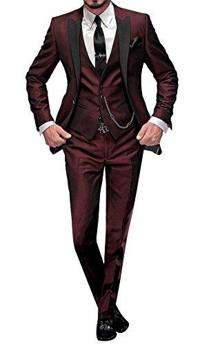 GEORGE BRIDE 002 - Traje de 5 Piezas para Hombre, Chaqueta de Traje, Chaleco, pantalón de Traje, Corbata, con Bolsillos, R, S