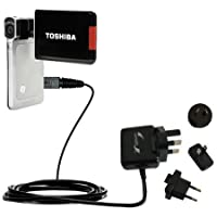 International AC Home Wall Charger suitable for the Toshiba Camileo S20 HD Camcorder - 10W Charge supports wall outlets and voltages worldwide - Uses Gomadic Brand TipExchange