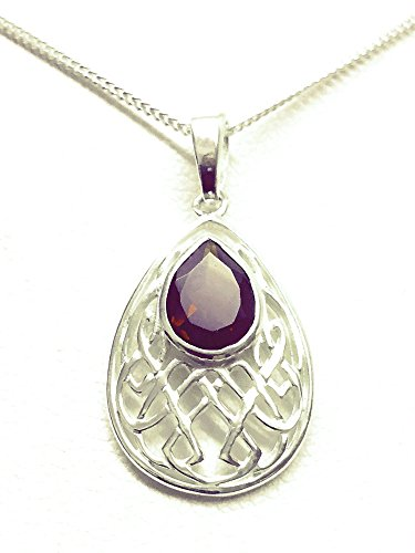sterling-silver-pear-shaped-celtic-knotwork-necklace-set-with-garnet-january-birthstone