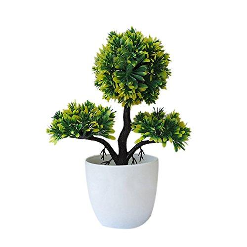 Stageonline bonsai di piante verdi in vaso simulato,simulato fiore artificiale pianta verde office decorazione piccoli vasi di fiori finti di plastica interna sala decorata bonsai