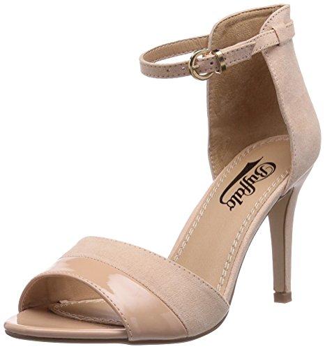 Buffalo Shoes 312339 IMI SUEDE PAT PU, Damen Knöchelriemchen Sandalen, Beige (NUDE 01), 38 EU