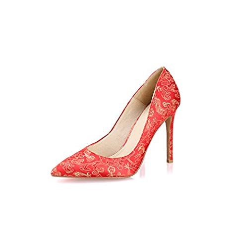 Vintage Red Lady Pointed-toe Talons hauts Slalow Mouth Silk Elegant Sandals Sexy Bride Embroidered Wedding Shoes 7cm / 8.5cm / 10.5cm ( Couleur : Red 10.5cm , taille : 39 )