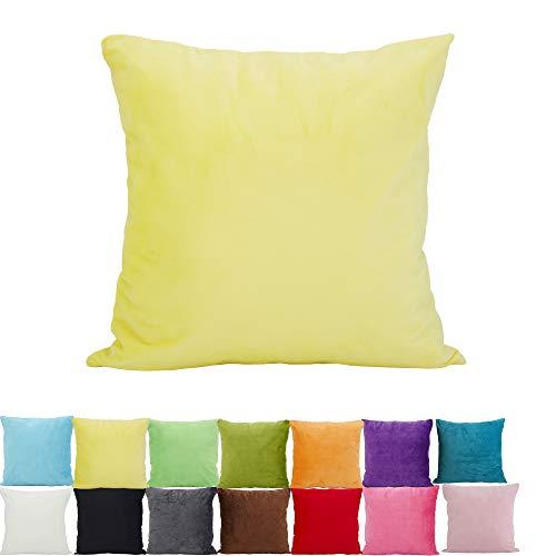 Chenille-2 Stück (Alimama 2 Stück einfarbige Chenille Dekorative Überwurf-Kissenbezüge, Euro-Kissenbezüge, europäische Überwurf-Kissenbezüge für drinnen und draußen 13.75 x 19.75 Inch (35 x 50 cm) gelb)