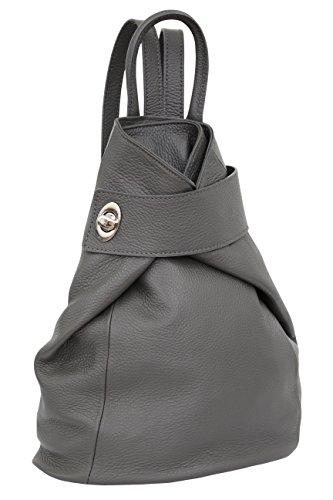 AMBRA Moda Leder Rucksack, Damen Tasche, Handtasche, Schultertasche GL014 (Anthrazit)