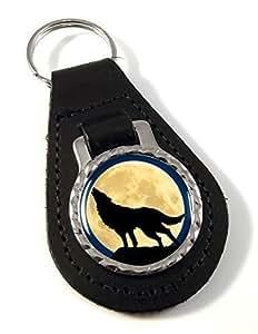 Loup Hurlant cuir et médaillon Porte-clés en métal