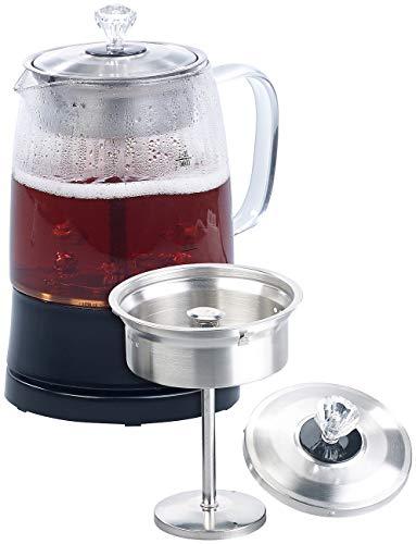 Rosenstein & Söhne Teezubereiter: 2in1-Glas-Teebereiter & Wasserkocher, Edelstahl-Sieb, 800 Watt, 1,2 l (Glaswasserkocher)