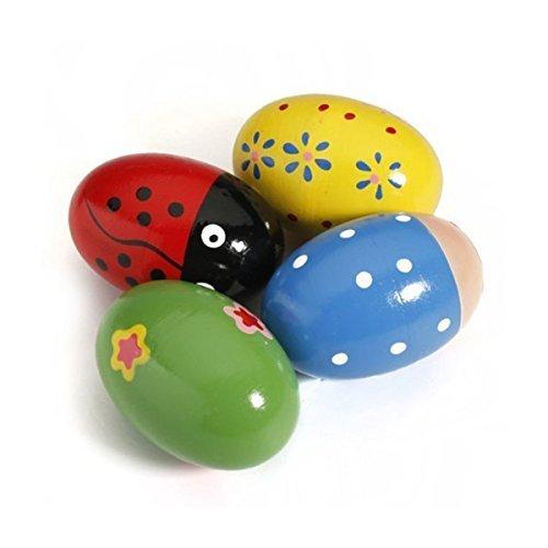 BIEE Maracas Shakers Music Holz Eier Percussion Spielzeug fur Kids Baby(zufällige Farbe)