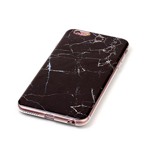 """MOONCASE Ultra-mince Motif Marbre Naturel Noir Rayure TPU Silicone Housse Coque Etui Gel Case Cover Pour iPhone 6 Plus / 6S Plus 5.5"""" Noir"""