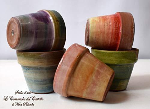 n. 5 Vasi da fiore diametro 6 Colori Assortiti Handmade Le Ceramiche del Castello Made in Italy