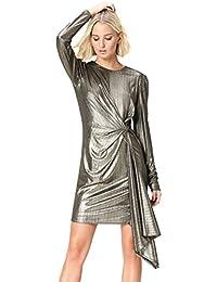 FIND Vestito Asimmetrico Metallizzato Donna