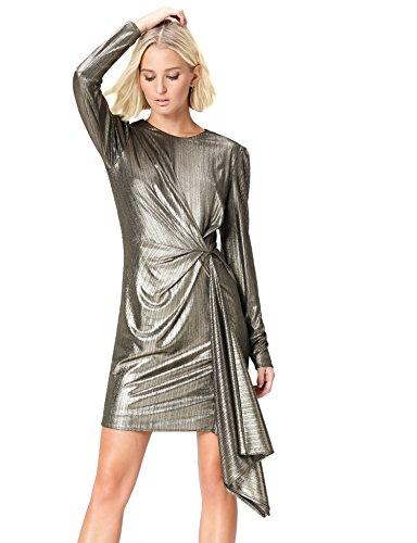 FIND Vestido Drapeado para Mujer, Dorado (Gold), 42 (Talla del Fabricante: Large)