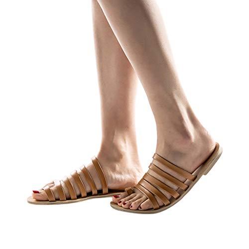 TianWlio Sandalen Damen Sommer Frühling Flache Fersenriemen Hausschuhe Strand Sandalen Römische Schuhe Plateau Sandaletten Sandalen Schwarz Rieker Sandalen Ballerinas Braun 39