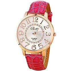 Batti ZA-23 Unisex Big Numerals Rhinestone Faux Leather Wrist Watch Rose-red