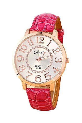 Montre-bracelet - Batti ZA-23 Unisexe montre-bracelet de cadran de gros chiffres strass avec bande en simili cuir rouge rose