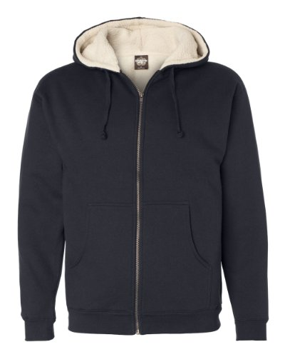 Independent Trading Co. Sherpa Lined Full-Zip Hooded Sweatshirt (EXP40SHZ) -Navy/Natur -L Lined Hooded Full Zip Sweatshirt