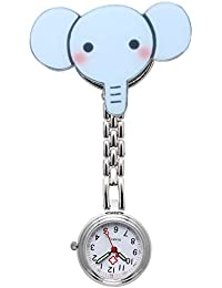 JSDDE Women's Fashion Alloy Nurse Clip-on Fob Brooch Hanging Pocket Watch - Blue Elephant