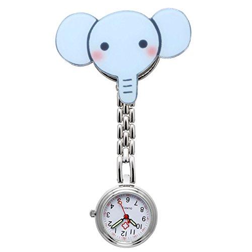 JSDDE Uhren Schwesternuhren Krankenschwesteruhr FOB Uhr Taschenuhr Pflegeruhr Pulsuhr Ketteuhr Quarz Ansteckuhr (Cartoon Elefant)