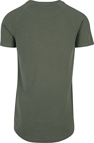 Urban Classics Herren T-Shirt Thermal Slub Raglan Tee Grün (Olive 176)