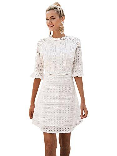 Missy Chilli Damen Kleid Kurz Sommer Elegant Langarm O Ausschnitt Baumwolle Spitze Mini Kleid Knielangkleid Dress Weiß