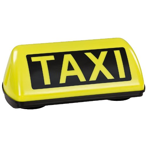 TAXI Dachzeichen Schild SPEED Dachschild gelb LED Dauerlicht mit 2,5m Flachkabel und TÜV Gutachten bis 240 km/h -