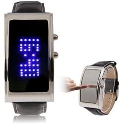 Mirror Blue LED Uhr mit Kunstleder Armband